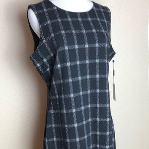 Calvin Klein fitted black checked dress. 12